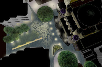 Plincke news Westminster Cathedral Piazza night view from above